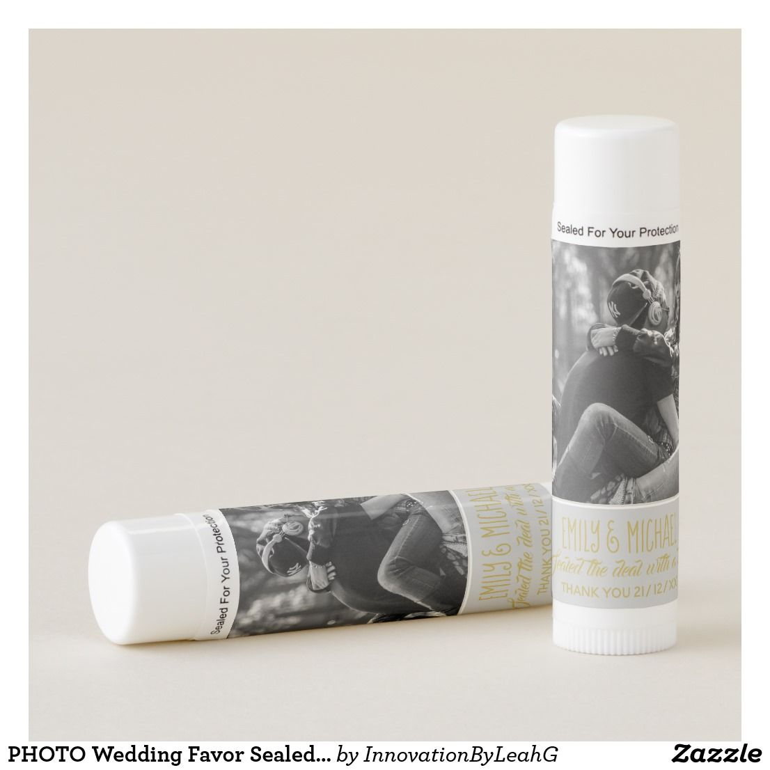 PHOTO Wedding Favor Sealed with KISS Personalized Lip Balm ...