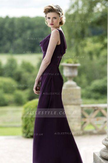 241e3be9f7 89.99 Cowl Neck Sheatth Long Chiffon Bridesmaid Dress with Buttons ...