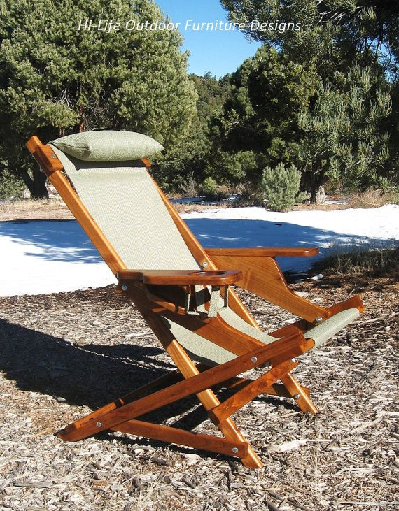 """Alder Wood Sling Chair with Large Arm Rests, Cup Holder, Headrest & Handle in Sea Haze Green Outdoor Fabric O'Scanlinn Deluxe"""" Folding Chair"""