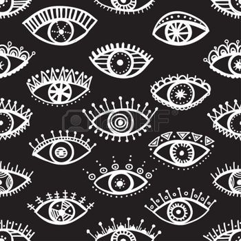 boho: Hand drawn indian ethnic tribal eyes fashion black and white trendy seamless pattern. Can be printed and used as wrapping paper, wallpaper, textile, fabric etc.