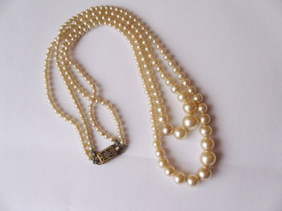 1950s Double 2 Strand Pearl Necklace Handstrun by OpenRoadsVintage, $15.00
