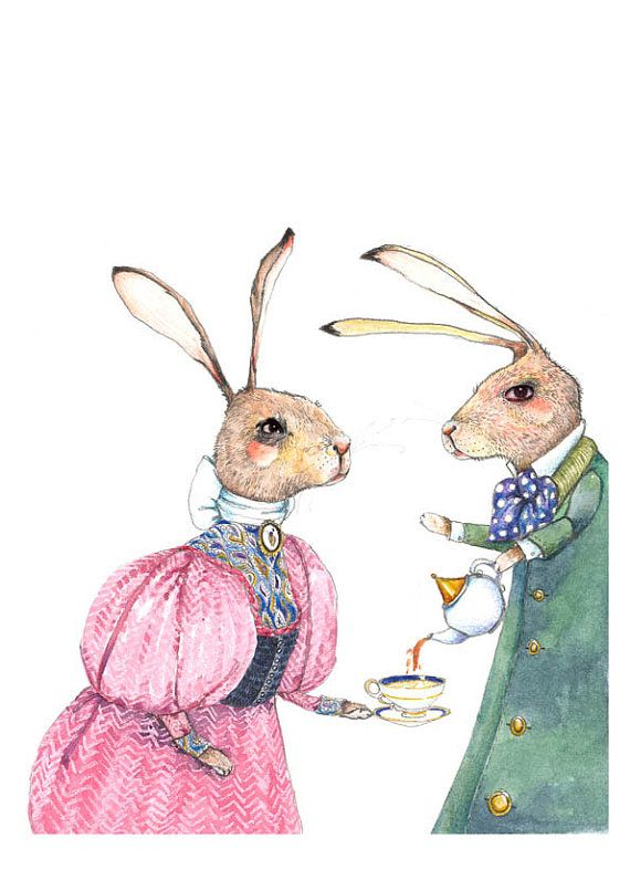 Print Bunnies take Tea giclee illustration by ChasingtheCrayon, £12.00
