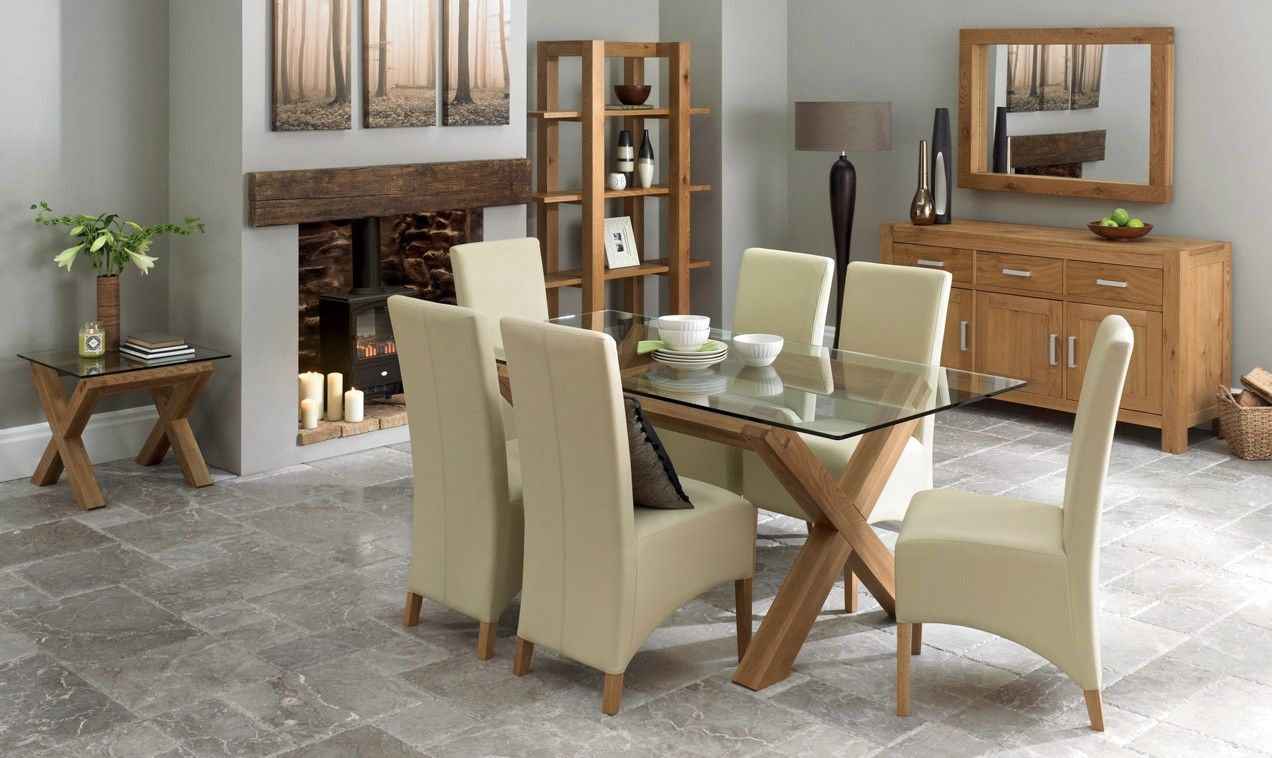 Lyon Glass Dining Table + 6 WING BACK IVORY FAUX LEATHER