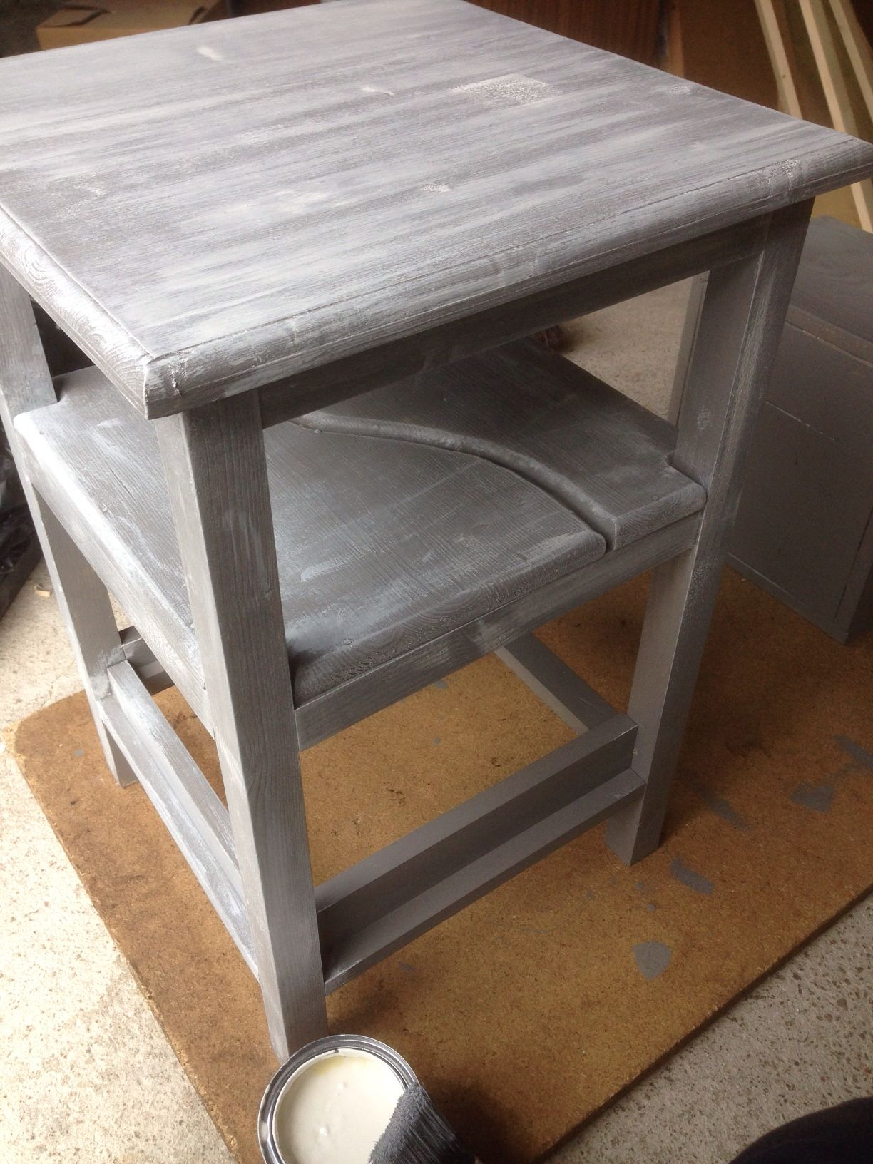 Stool Bedside Table: Homemade Bedside Table Getting A Paint Job