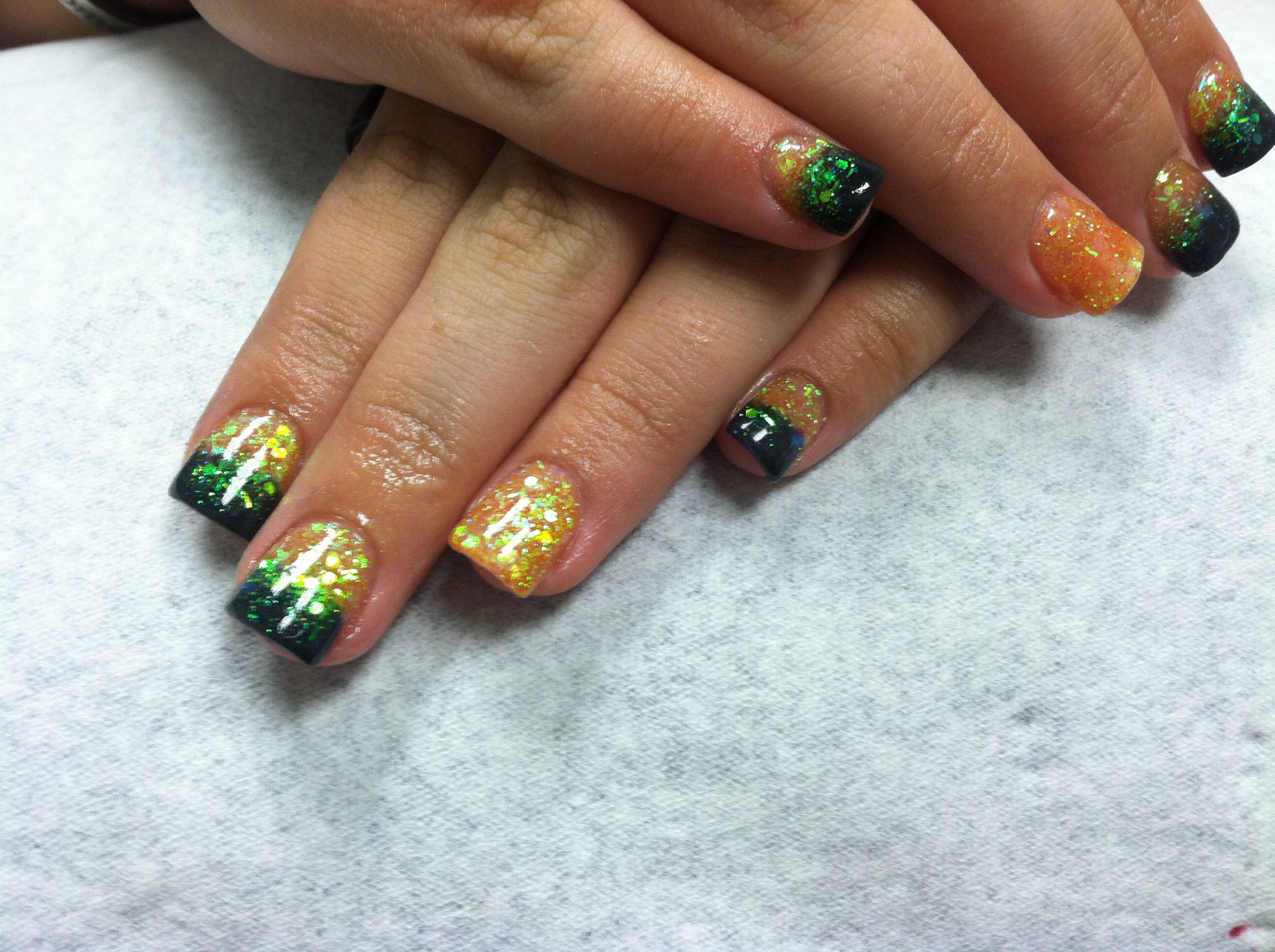 Black orange green halloween fade acrylic nails | My ...