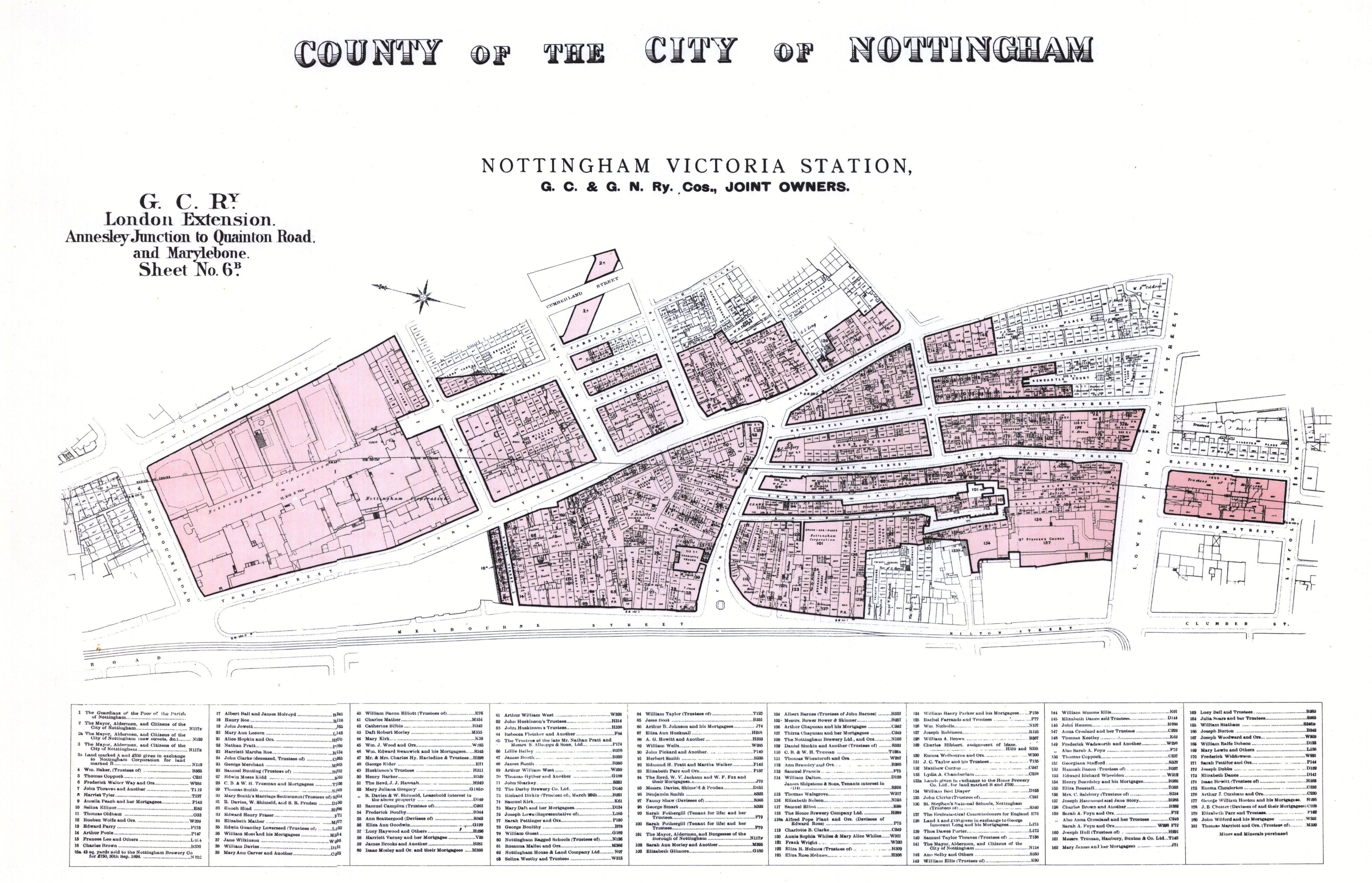Map of the area of Nottingham where the Victoria Centre now is
