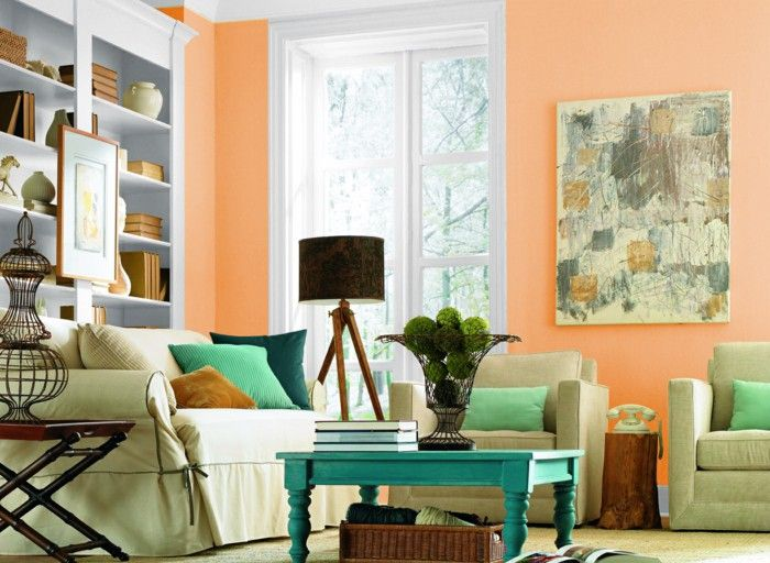 charming light green living room wall color | innendesign living room bright orange light green coffee ...