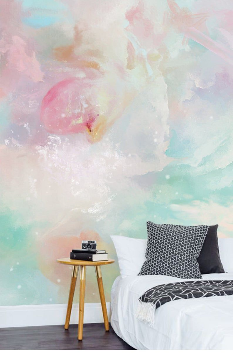 Watercolor Abstract Clouds Wallpaper Wall Mural Rendering