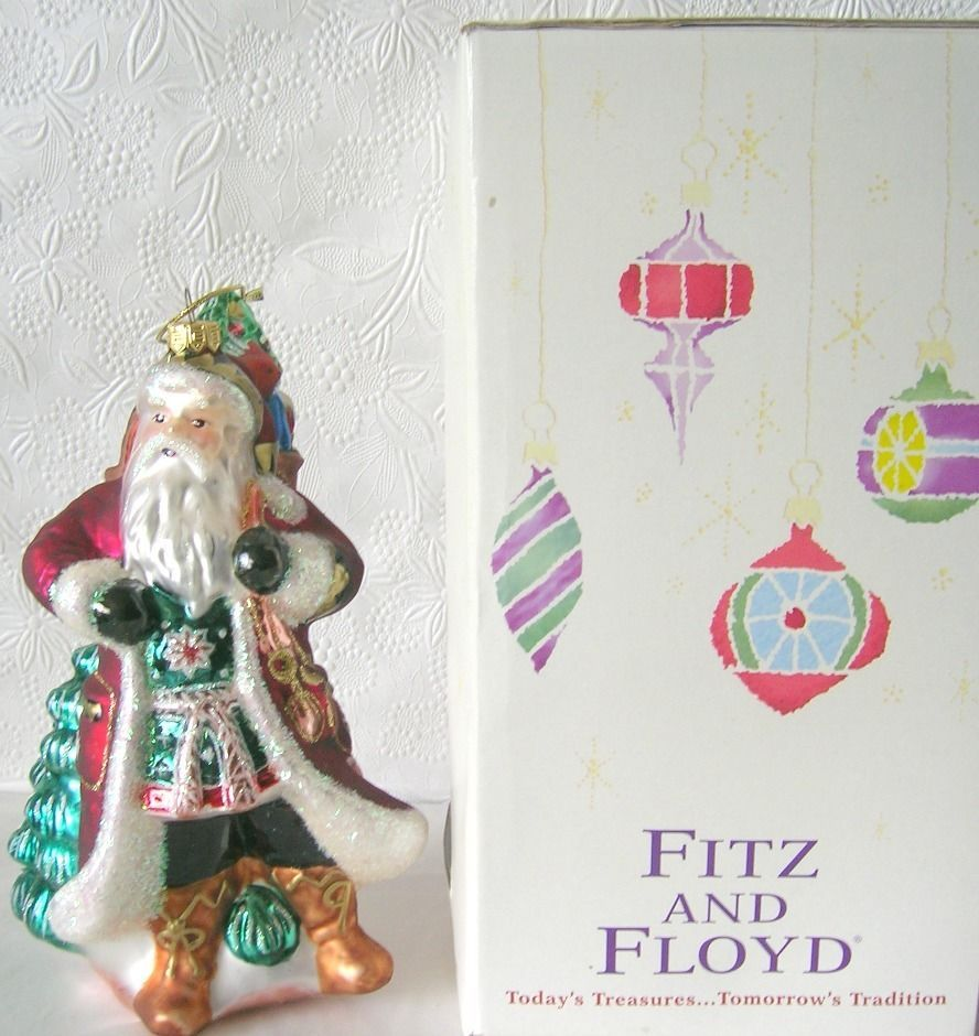 details about fitz and floyd santa retired glass ornament 8 inches