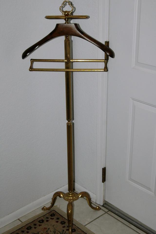 149 Vintage Polished Brass Clothes Valet