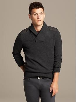 Quilted Shawl-Collar Pullover | Banana Republic