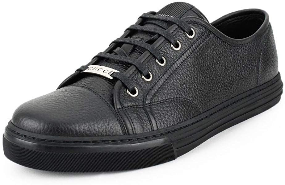 476fcbc977de Amazon.com: Gucci Men's Pebbled Nappa Leather Low-top Sneakers, Black  312615 (US 9 UK 8.5): Shoes