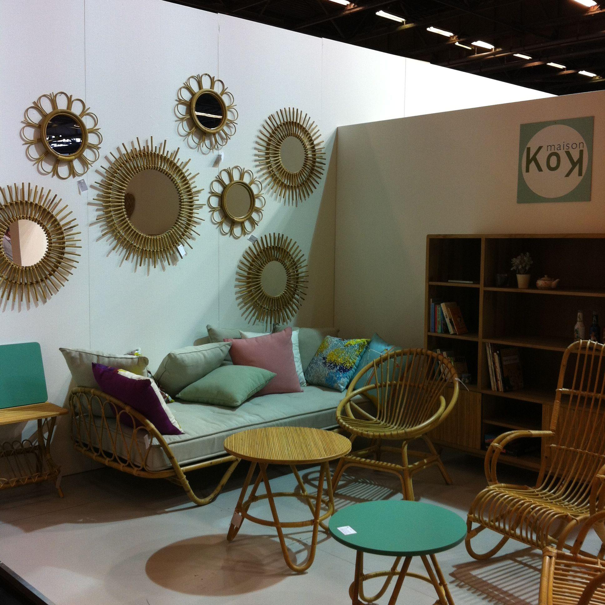 Ambiance vintage dans ce salon en rotin par kok kok for Deco objet salon