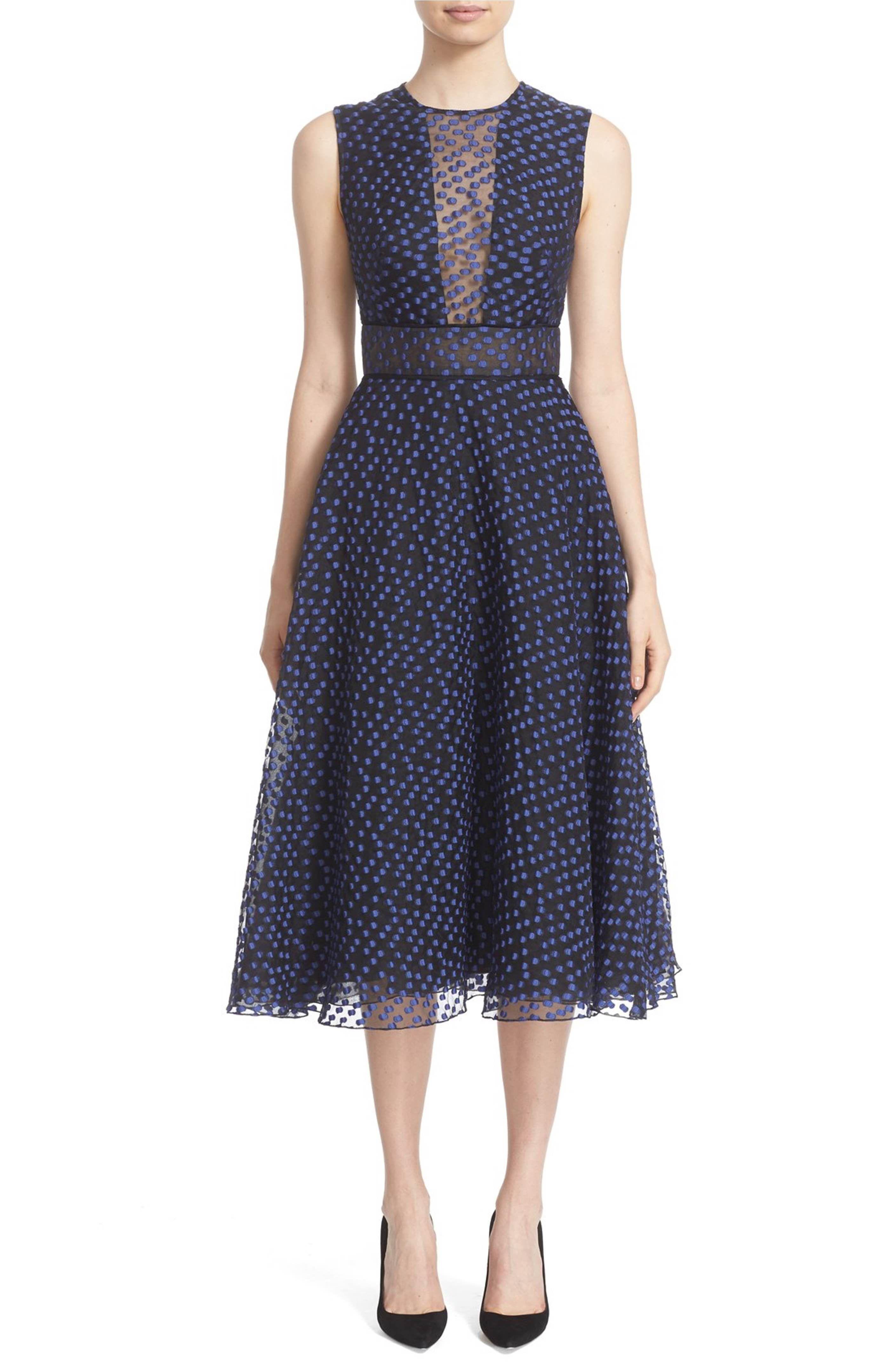 Main Image - Lela Rose Dotted Organza Fit & Flare Midi Dress ...