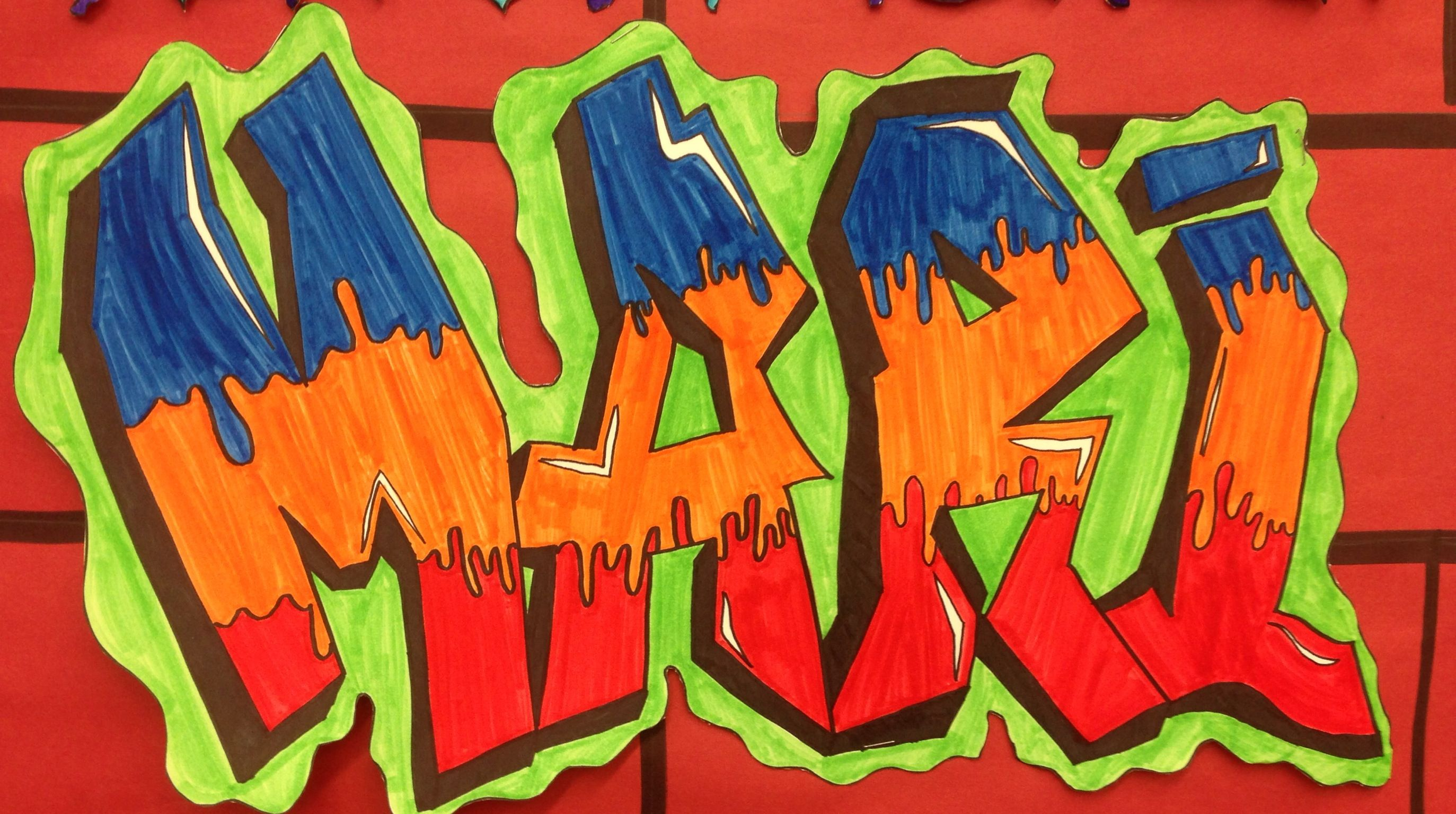 Middle school art project graffiti name tag from mrs mclains art room