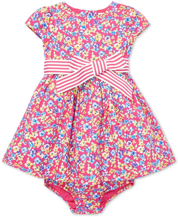 e39b6c37cd9 Polo Ralph Lauren Baby Girls Floral-Print Fit & Flare Cotton Dress ...