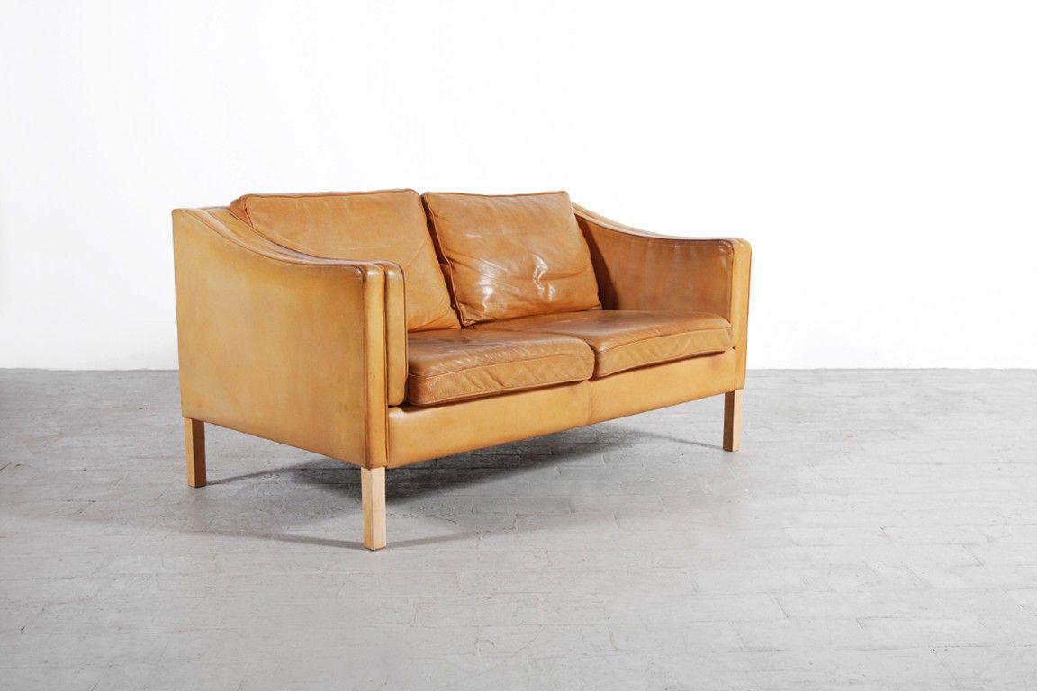 canapé 2 places scandinave cuir fauve 1960 vintage design