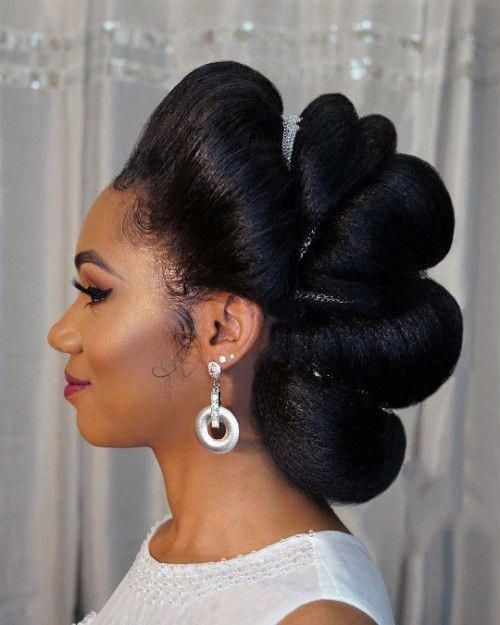 Wedding hairstyles for The Black Women #BlackwomensHairstyles #bunshairstylesforblackwomen