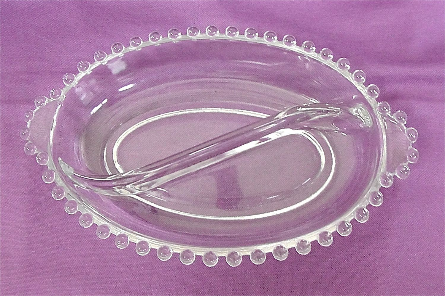Vintage Candlewick Divided Glass Dish by DelicateCreations on Etsy