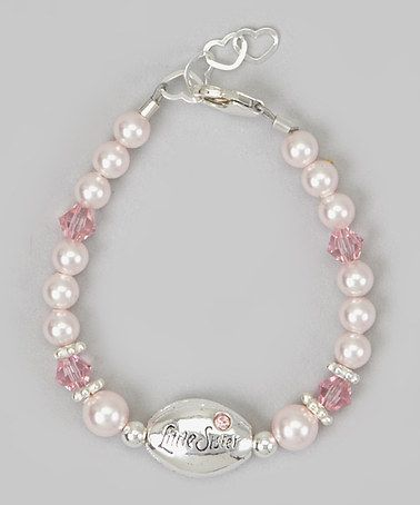 Another great find on #zulily! Pink Pearl 'Little Sister' Heart Charm Bracelet #zulilyfinds