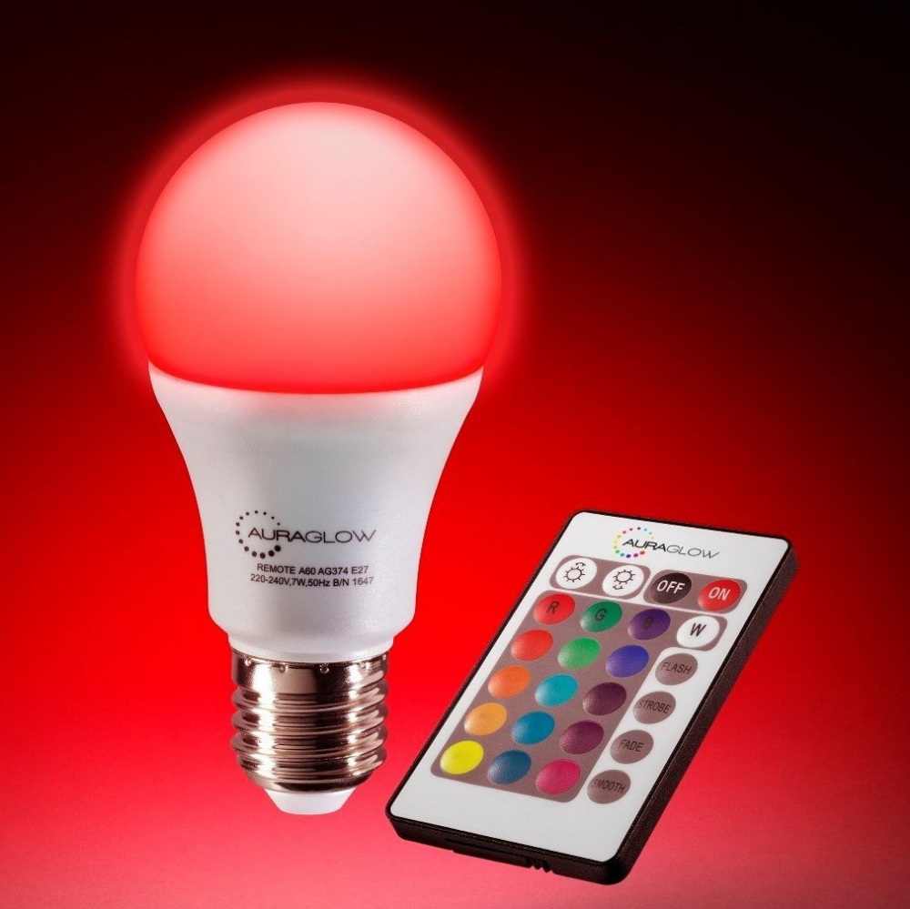 Auraglow 7w Remote Control Colour Changing Led Light Bulb E27 60w Warm White Dimmable Version 3rd Generation A Led Light Bulb Light Bulb Color Changing Led