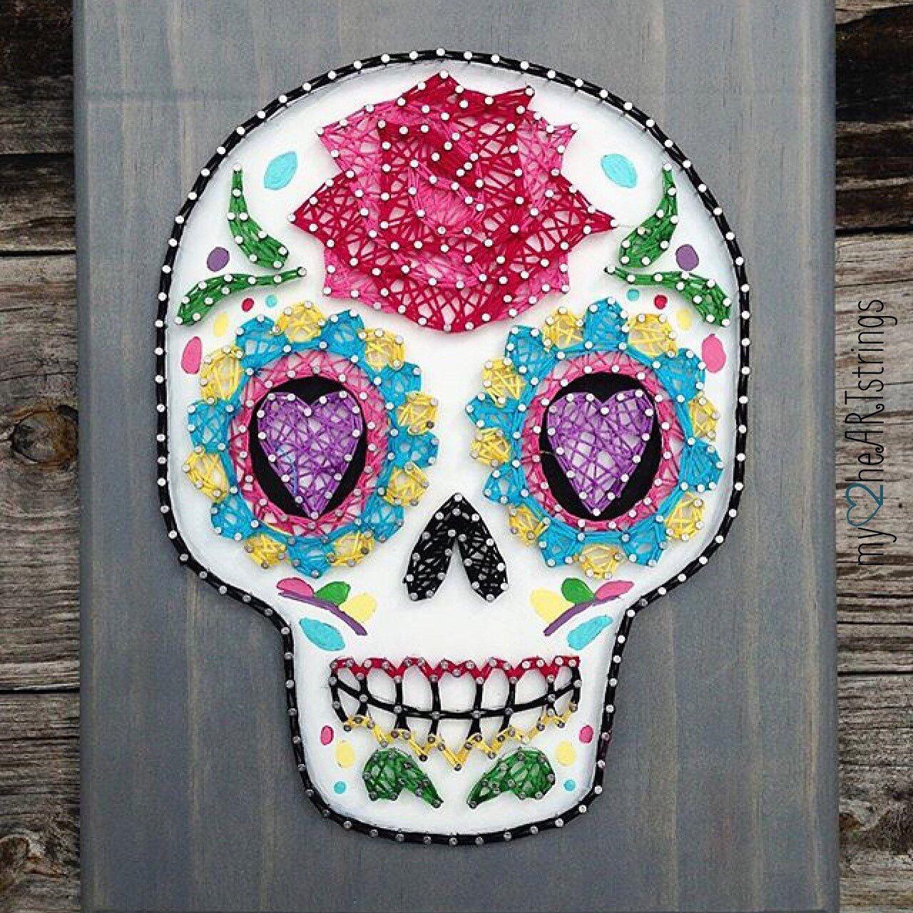 Sugar skull string art crafts