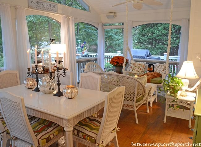decorating the screened porch for fall halloween