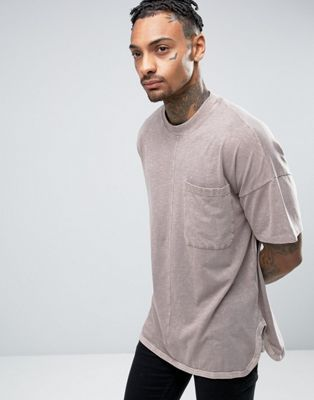 ASOS Oversized T-Shirt With Wide Kimono Sleeves And Curved Hem And Side Splits In Brown Wash