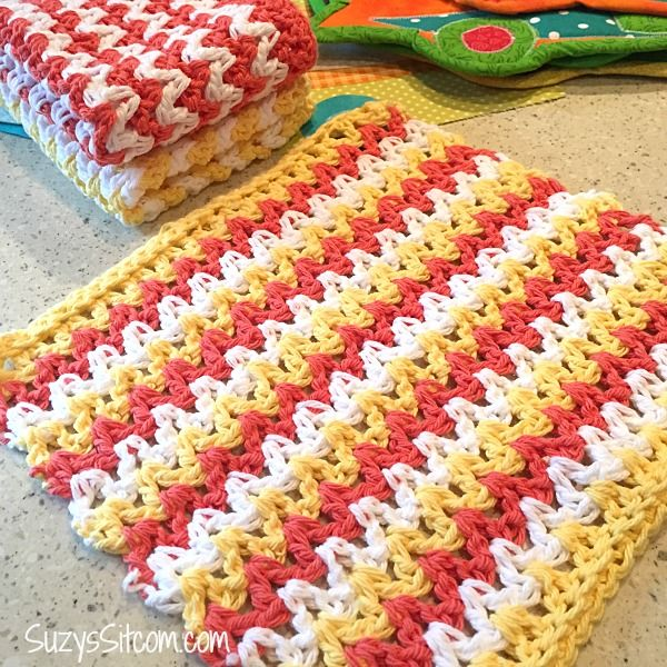 easy zigzag crochet pattern | Crochet dishcloths | Pinterest