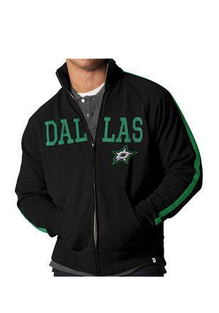 47 Dallas Stars Mens Black Wordmark Scrim Track Jacket.   273775332