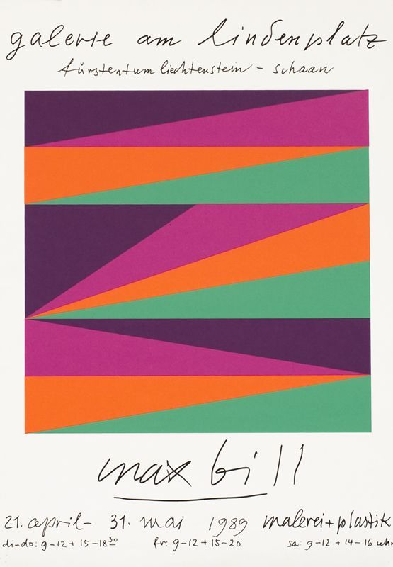 Just for the colour and that simple, dynamic rhythm Max Bill achieves with these stripped down intersecting forms. Galerie Am Lindenplatz, 1989.
