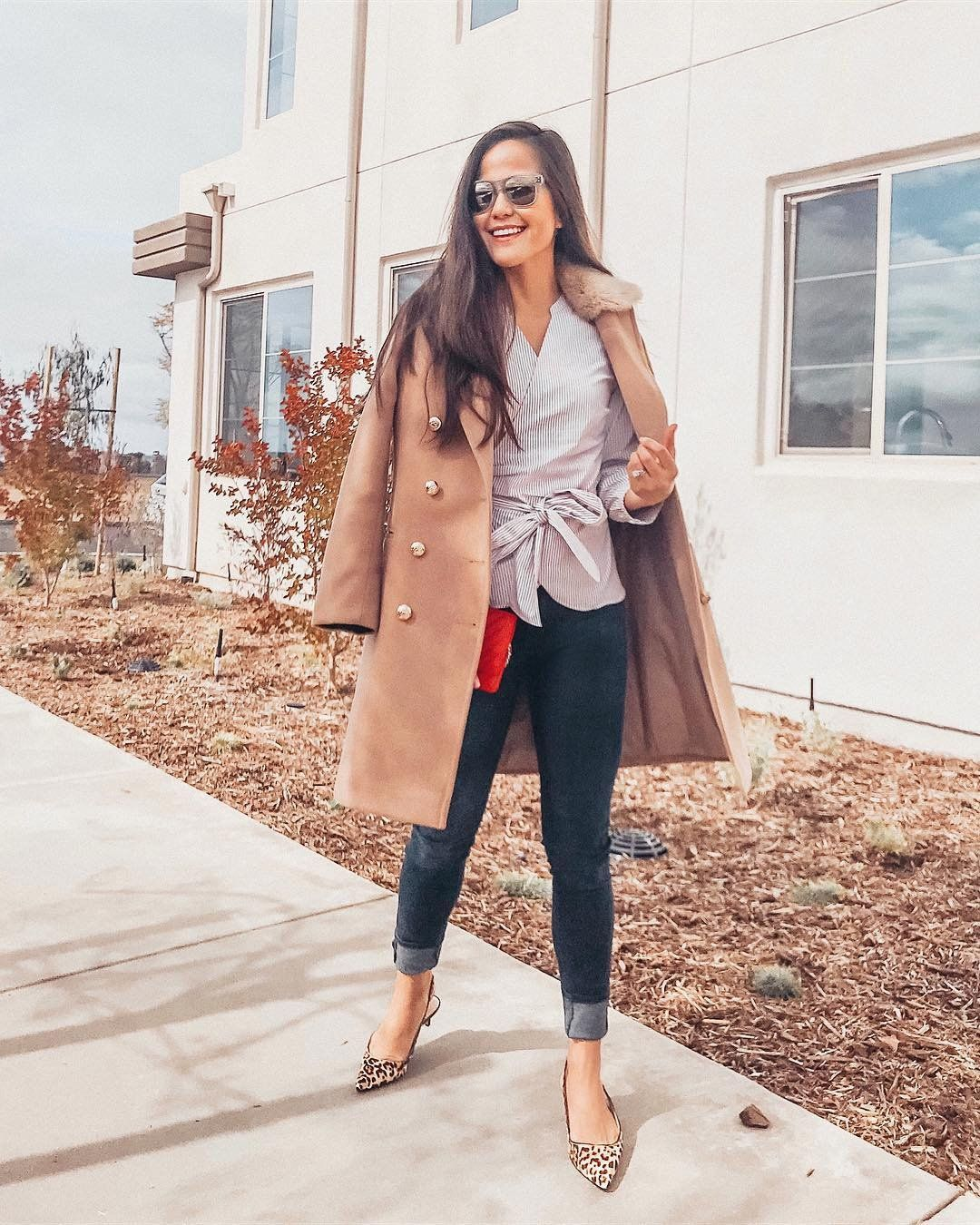 Lydia Webb Staying Cozy Chic In Our Ludlow Kitten Heel Kitten Heels Outfit Fall Outfits Heels Outfits