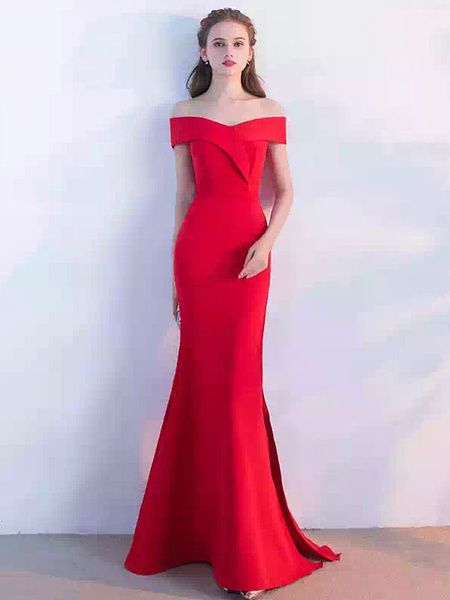 cf8a5bf827a Red Evening Dress Off The Shoulder Mermaid Long Prom Dresses 2017 Sexy High  Split Floor Length Formal Dress