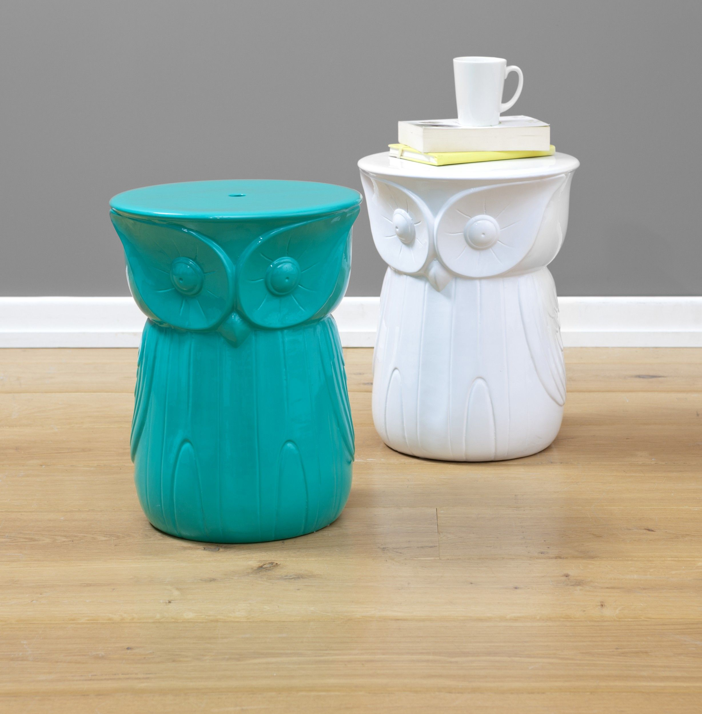 Gorgeous teal and white owl ceramic side tables now at The Reject