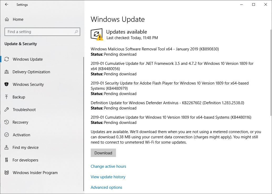 windows 10 update download stuck at 1