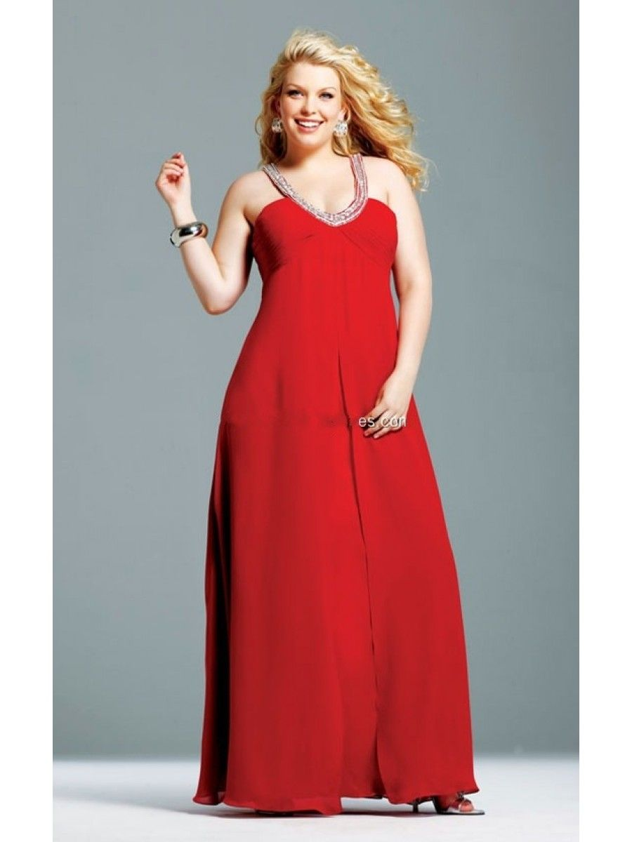 A-line Beaded Straps Sleeveless Floor Length / Long Red Chiffon Plus ...