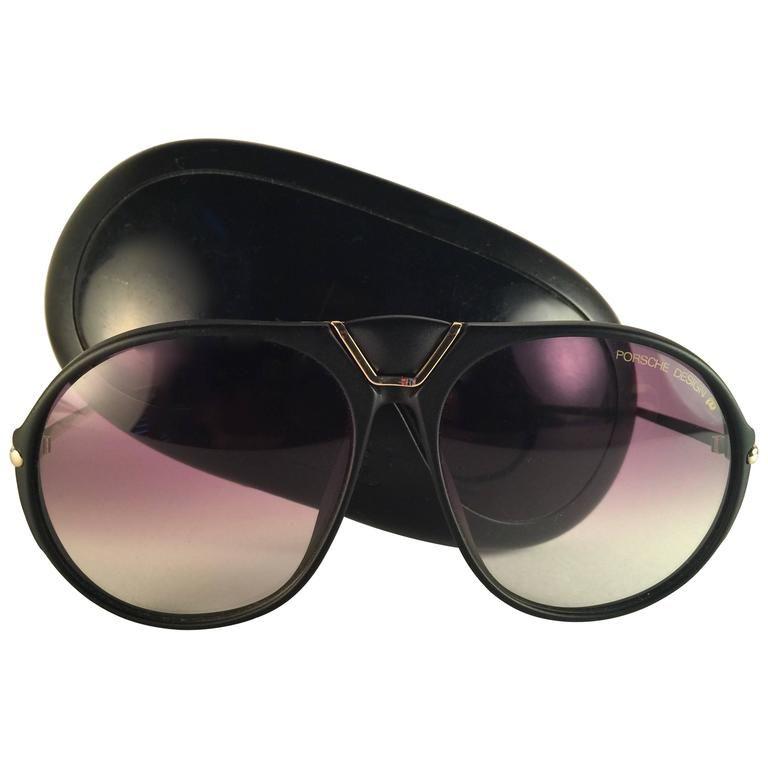 acbcd3a344a98 New Vintage Porsche Design By Carrera 5659 Black Gold Large Sunglasses  Austria 1980