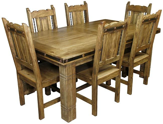 Mexican Iron Banded Southwest Dining Set 7 Piece Green Country Kitchen Cedar Furniture Mexican Furniture
