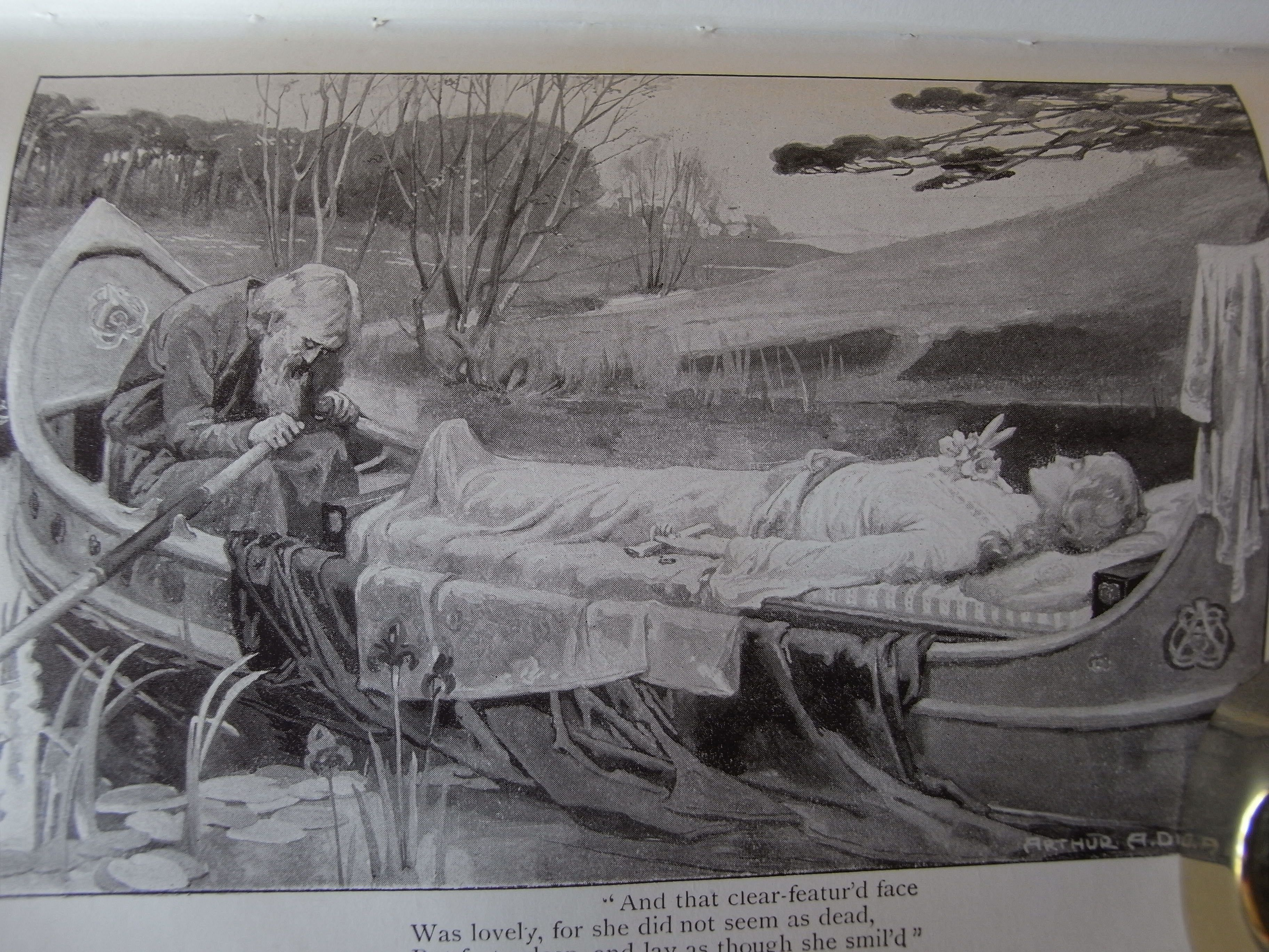 "Illustration from Tennyson's Poetical Works """"And that clear-featur'd face Was lovely, for she did not seem as dead, But fast asleep, and lay as though she smil'd."" Elaine. Painting by Arthur A. Dixon"