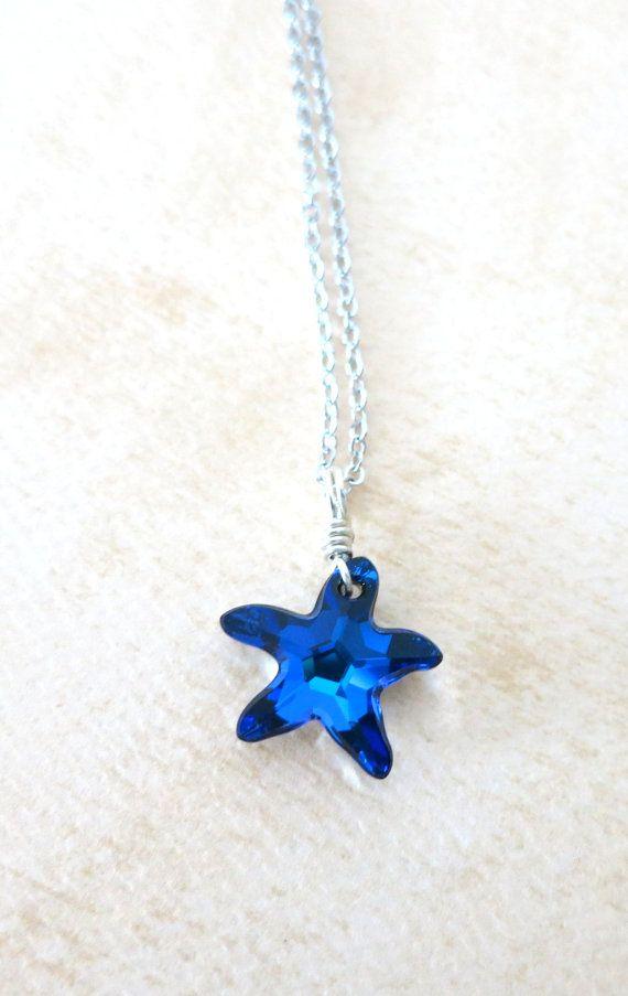 4f5115cb6614f Sterling Silver Swarovski Bermuda blue Crystal Starfish Necklace ...