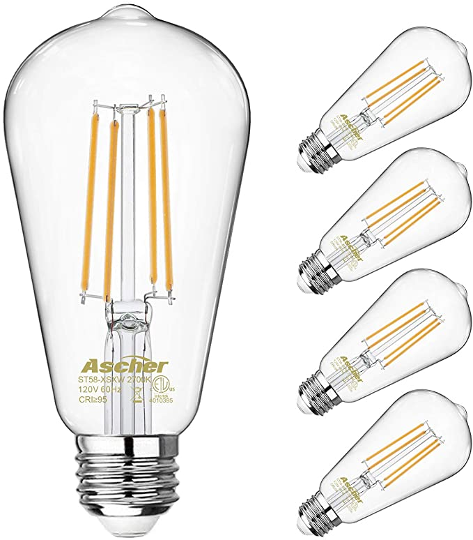 Amazon Com Vintage Led Edison Bulbs 60 Watt Equivalent Eye Protection Led Bulb With 95 Cri Non Dimmable Warm White 2700k St58 A In 2020 Led Bulb Filament Bulb Bulb