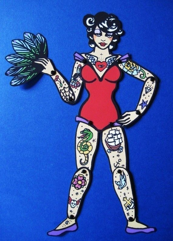 Vintage Circus TATTOOED LADY Paper Doll Puppet, via Etsy. by leonor