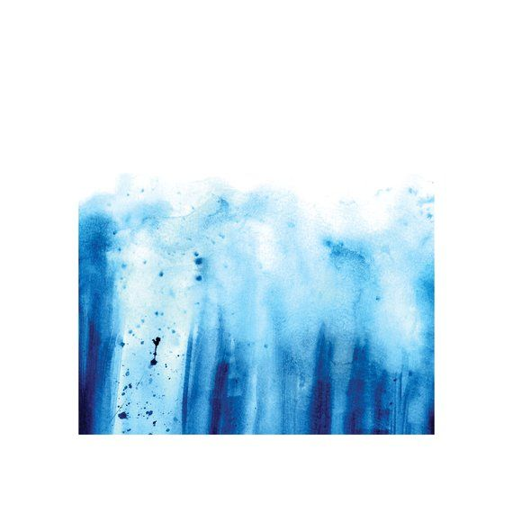 Digital Download Abstract Blue Watercolor Art Print On White