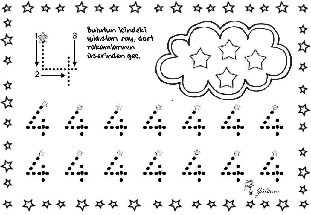 Dort 4 Rakami Calisma Sayfasi Okuloncesi Matematik Okul