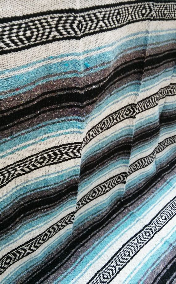 Light Blue Mexican Blanket By Daisymaevintagedecor On Etsy 24 00 Beach Machine Washable