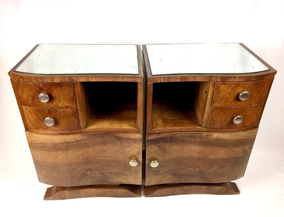 Pair Art Deco Bedside Set Cabinets 30s French Dresser Sideboard