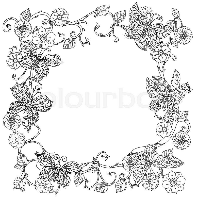 Uncoloured frame flowers and butterfly for adult coloring book in