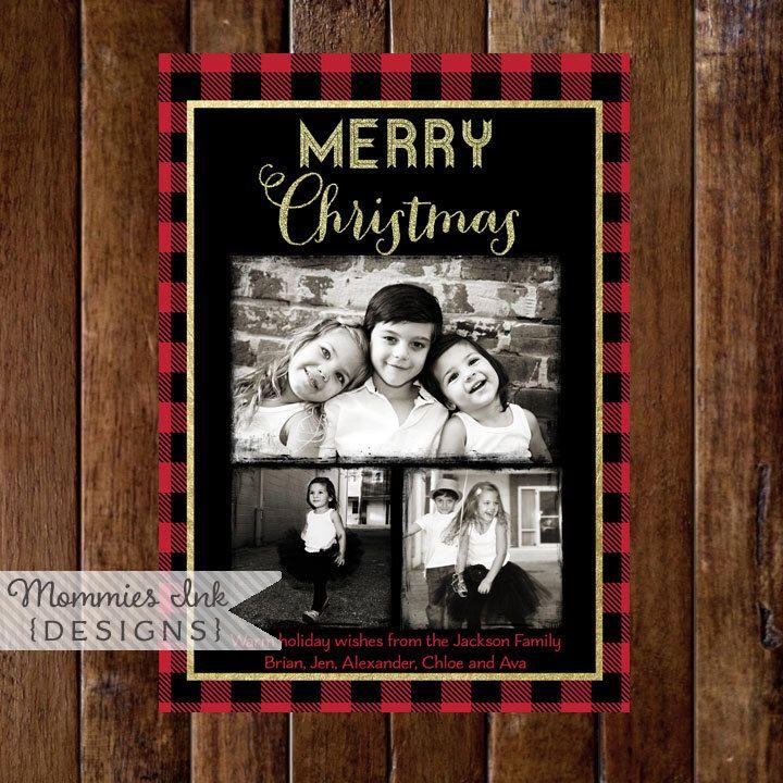 Gold Glitter and Buffalo Plaid 3 Photo Christmas Card, Buffalo Check