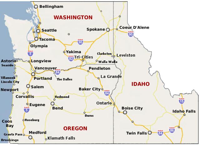 Major Cities Of Oregon World Relief Washington Idaho