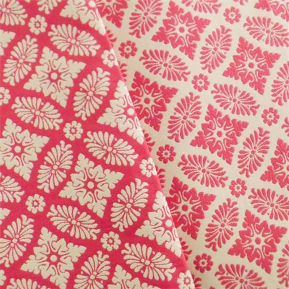 Strawberry Pink White Double Jacquard Home Decorating Fabric